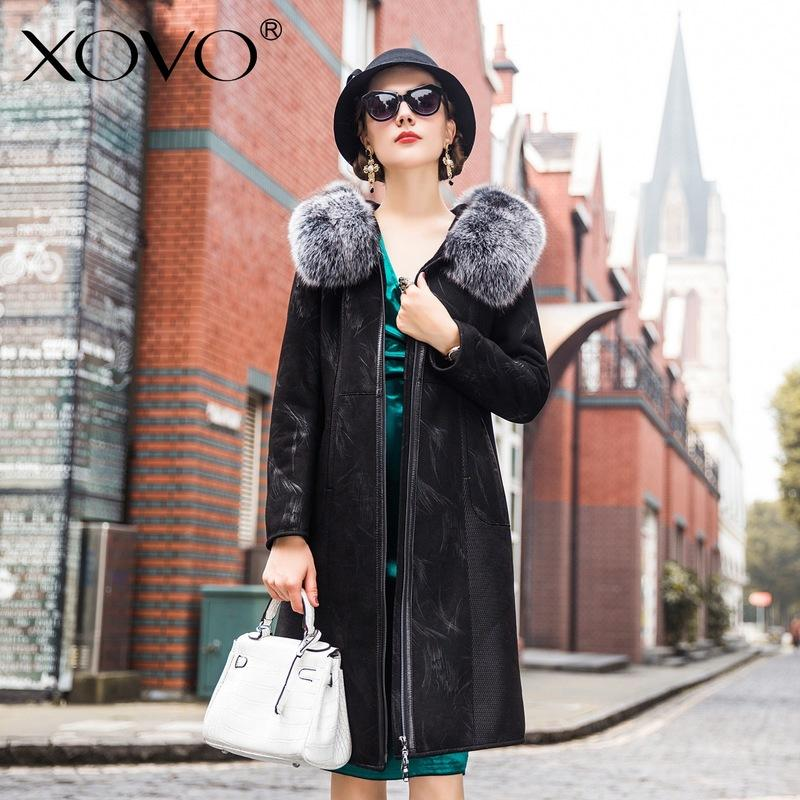 5XL Sheep skin Coat's wool coat women's jacket sheepskin fox fur hooded good quality thick warm winter coat woman elegant