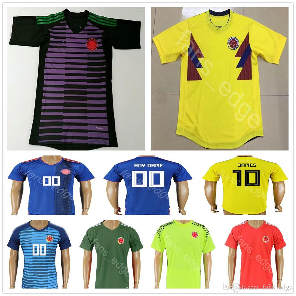 5cf1b09170d 2019 2018 World Cup Colombia Goalkeeper Soccer Jersey 1 OSPINA 22  CASTELLANOS 10 JAMES 9 FALCAO 11 CUADRADO Custom Short Sleeve Football Shirt  From ...