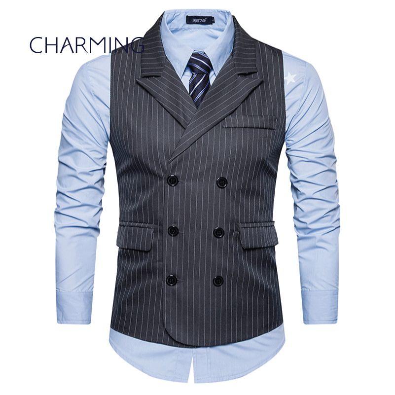 Sleeveless Jacket Mens Vest Fashion Stripe Fabric Design Vest Coat