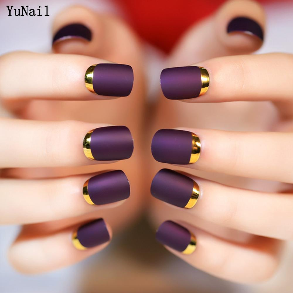 Matte Purple False Nails Full Finished Short Design Metal Side ...