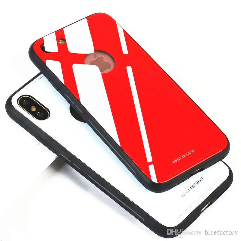 competitive price 7d2d3 fd413 Luxury Ultra Thin Tempered Glass Case Cover For iphone X 8 Plus Soft TPU  Bumper Mirror Surface Gloss Glass Back Cover For iphone 6s 7 plus