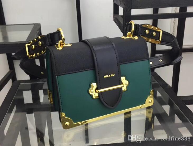 1BD045 20 cm Cahier Saffiano Bezerro Bolsas De Ombro De Couro, Frente De Fecho, Alça De Couro Com Saco De Poeira, Frete Grátis
