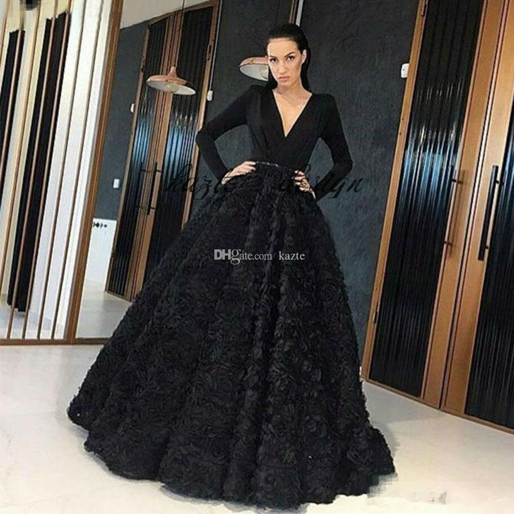 8471bd4069 Elegant Black 3D Rose Floral Puffy Prom Dresses Deep V Neck Long Sleeve  Formal Dubai Arabic Evening Pageant Wear Flower Red Carpet Gowns Evening  Maxi ...