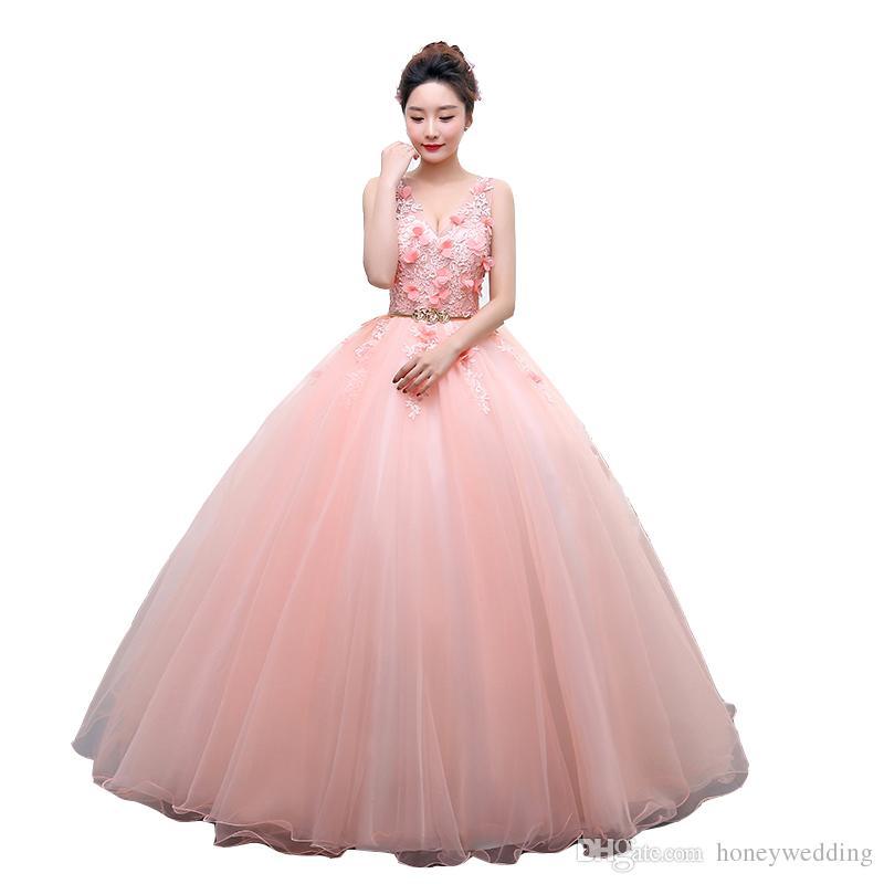 Compre Vestidos De Fiesta Largos De Color Rosa Vestidos De Fiesta 2018 Vestido De Quinceañera Vestidos De Noche Formales De Foto Real Con Cinturón De
