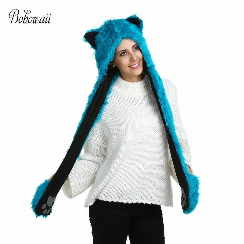 Acheter Bohowaii Chapeaux D animaux En Peluche D hiver Avec Des Gants  Nouveauté Drôle Filles Bleu Foulard Ensembles Pour Les Femmes De  20.12 Du  Bensimmons ... 2d28bb1b876