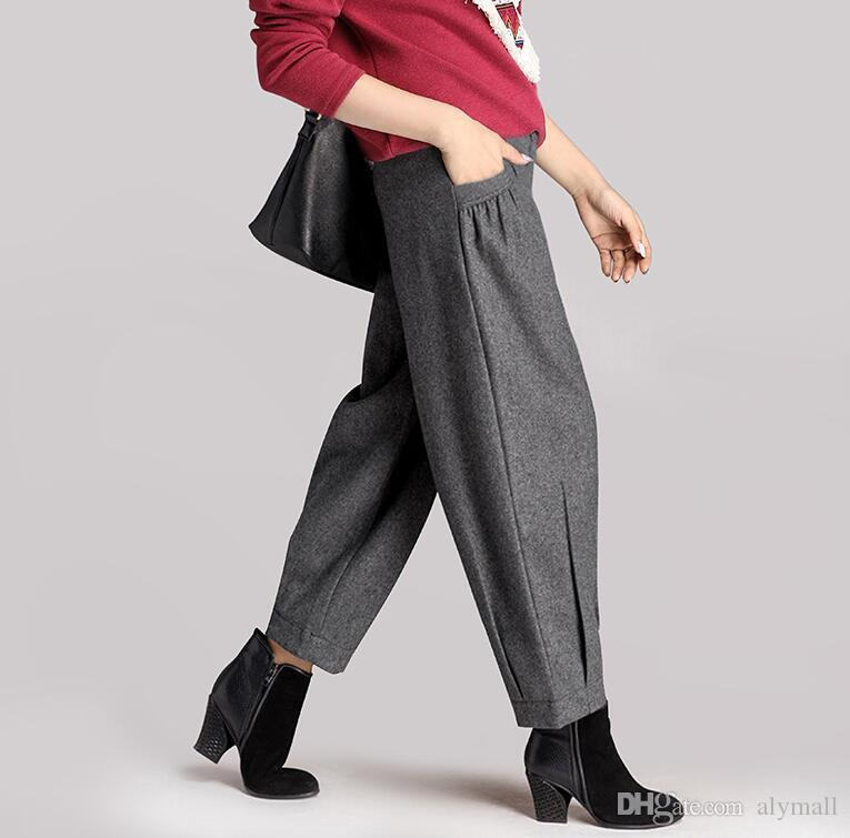 eae370ce9e Women Winter Wool Blend Casual Loose Trouser Pants High Waist Wide Leg  Online with $52.58/Piece on Alymall's Store | DHgate.com