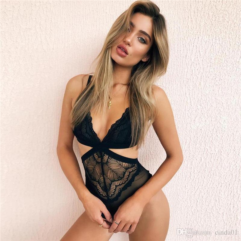 White Black Sexy Bra Jumpsuits Women Patchwork Lace Slim V Neck Bodysuit Slimming High Waist Vest Rompers For Sales