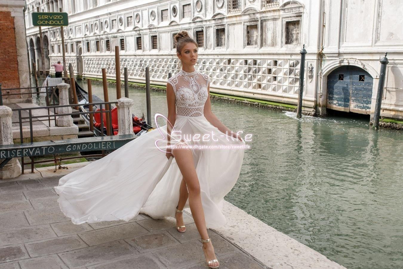 Julie Vino 2019 Robes De Mariée Fendue Haute Bohême Dentelle Sexy Appliquée Une Ligne Plage Illusion Côté Split Personnalisé Robes De Mariée