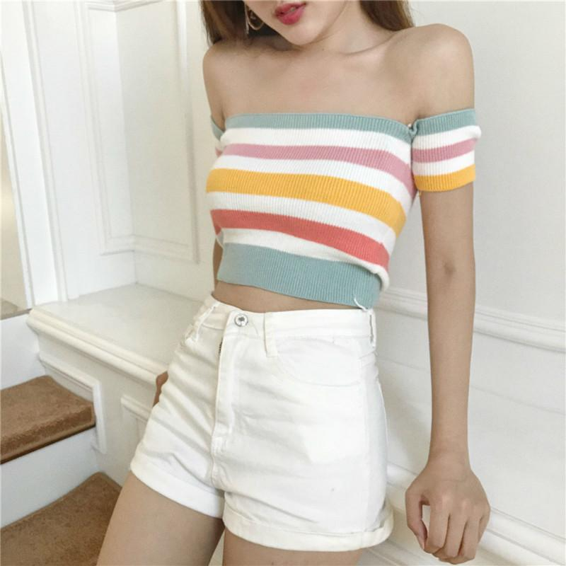 473c1226b 2019 Women Sexy Cold Off Shoulder Rainbow Color Striped Knitwear Casual  Skinny Color Blocking Knitted Pullover Sweater Autumn Fashion From  Illusory09