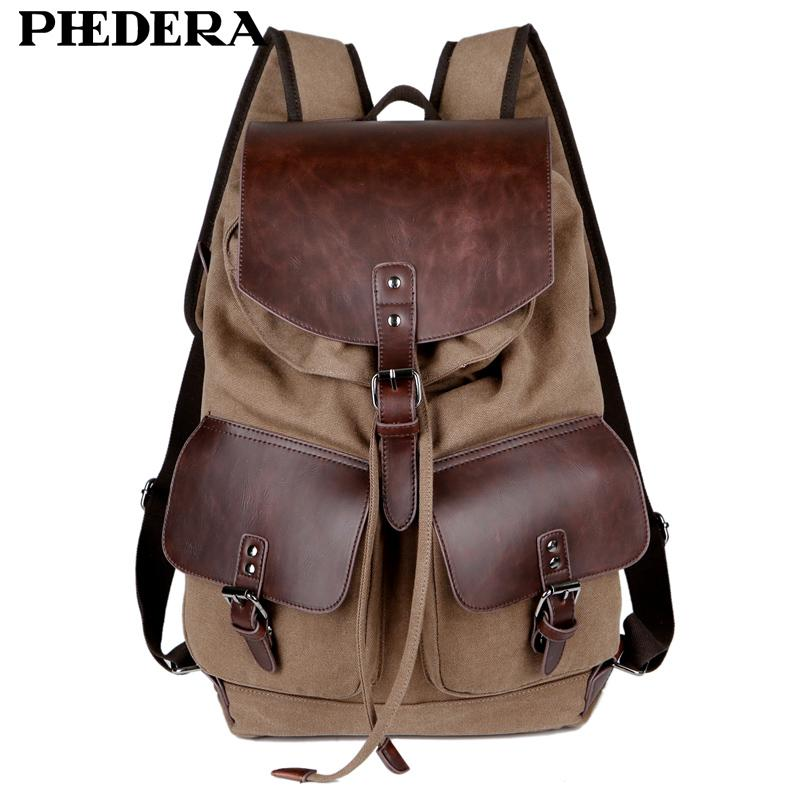 c4cbfddd7 bag pack Phedera Hot Super Quality Canvas Men Rucksack Casual Coffee Male  Backpacks Leisure Retro Men's Travel Shoulder Bags Pack