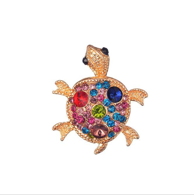Fashion Women Gold Plated Rhinestone Tortoise Brooches Pin Retro ... 08b10bd97add
