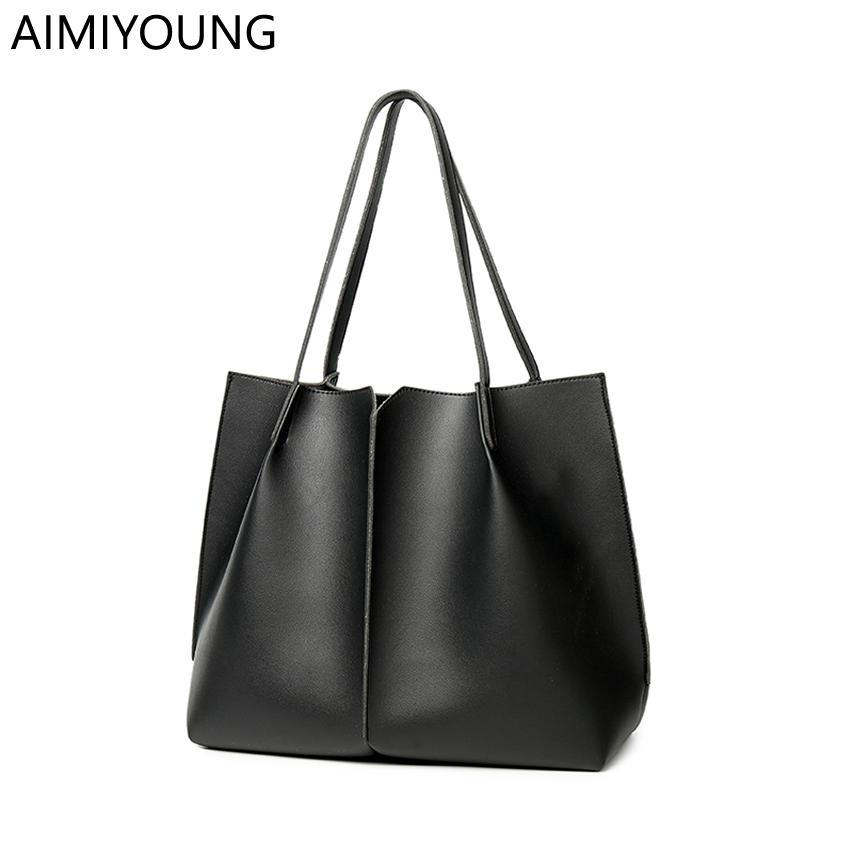e7384f1fcd5 AIMIYOUNG Women Leather Handbags Large Shoulder Bags Ladies Designer Tote  Bag Black Female Handbags Bolsa Feminina Bolsos Mujer Handbags Purses From  ...