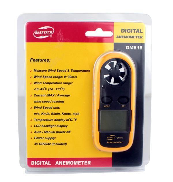 Digital Anemometer 1.4inch Handheld pocket Air Wind Speed Velocity Meter Temperature Measure instrument in retail box
