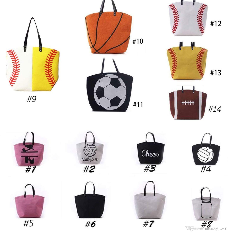 2018 Sport adulti tote baseball / softball / calcio borsa da donna mano tote borsa da baseball trasporto DHL