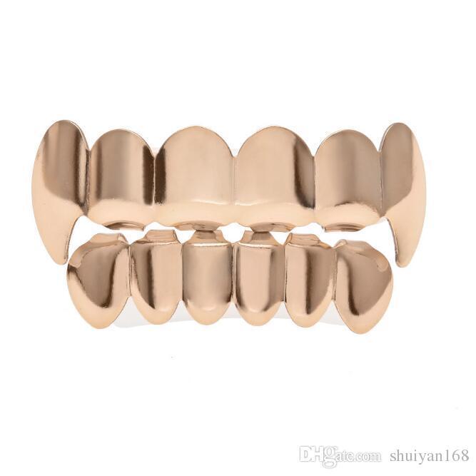 Hip Hop Personalidad colmillos dientes oro plata rosa dientes dientes de oro grillz oro dientes falsos juegos vampiros parrillas para mujeres hombres joyería de parrillas dentales