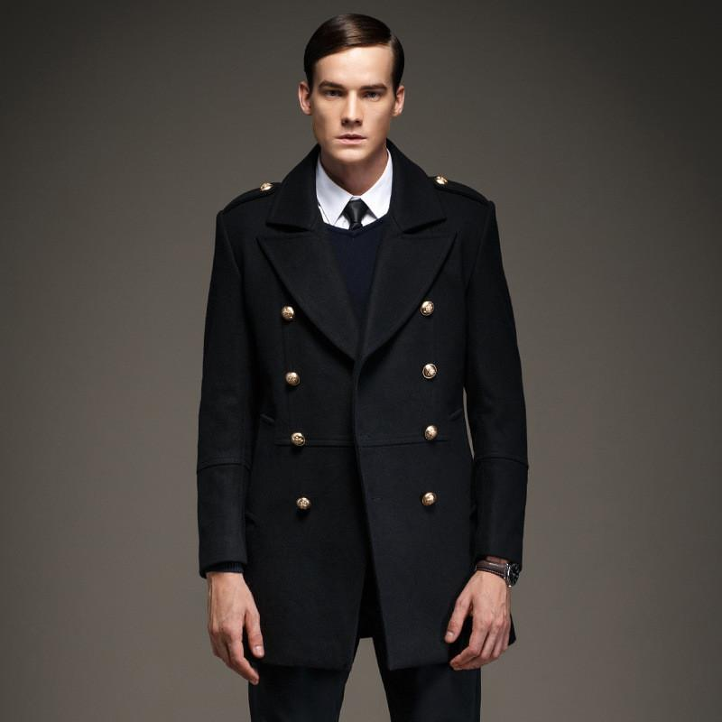 High Quality 2017 new Winter 50% Wool Coat Men Military Epaulet Double Breasted Men Jacket Long Casaco Masculino A1488