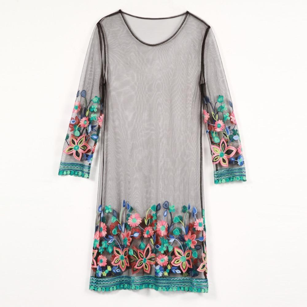 2019 Summer Women Vintage Dress Elegant Fashion Lady Embroidey Dress Beach  Mesh Short See Through Sexy Casual Floral Dress Mini Dress Designers Plus  Size ...
