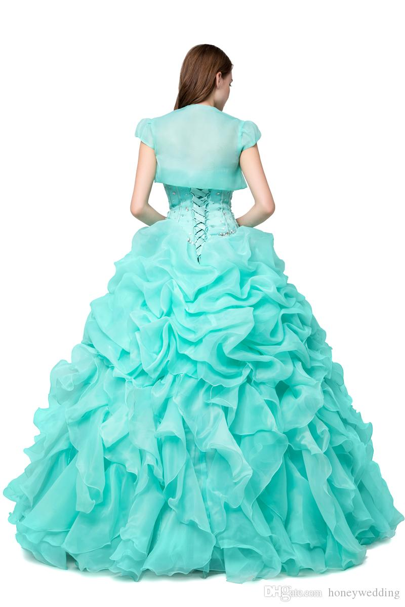 Menthe Vert Robes De Quinceanera Pas Cher 2019 Robe De Bal Mascarade Robes De Bal Real Photo Cristal Perlé Ruffles Rose Chaud Doux 16 Robe