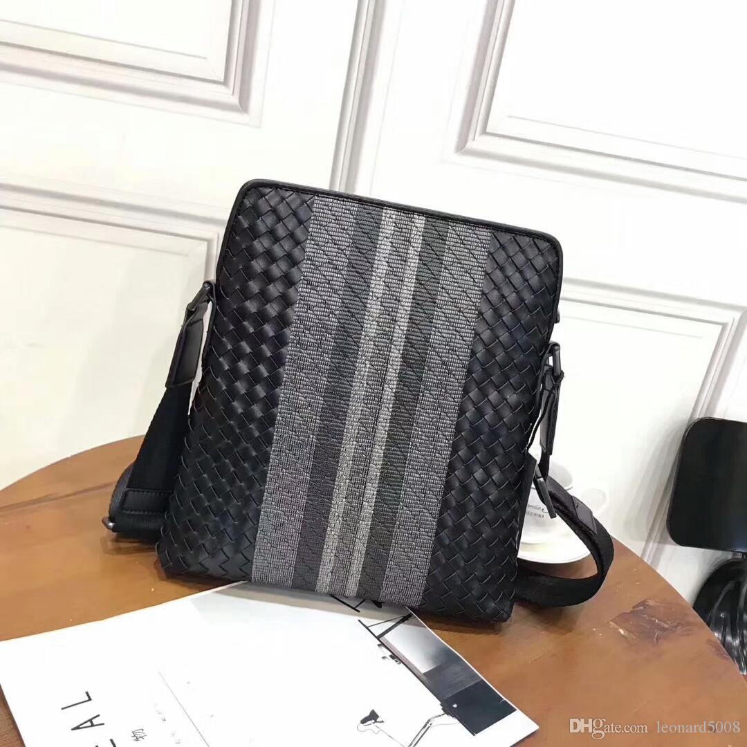 183c58d33059 Brand Designer BV Men Genuine Leather Handbag Black Weave Hand Made  Briefcase Laptop Shoulder Bag Messenger Bag Purses Designer Handbags From  Leonard5008