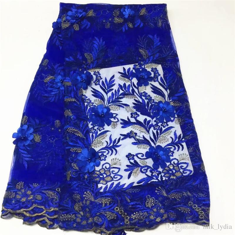 merletto francese di lusso con perline tessuto di pizzo 3d handmake fiore ricamato appliques pizzo africano viola matrimonio 5 yard /