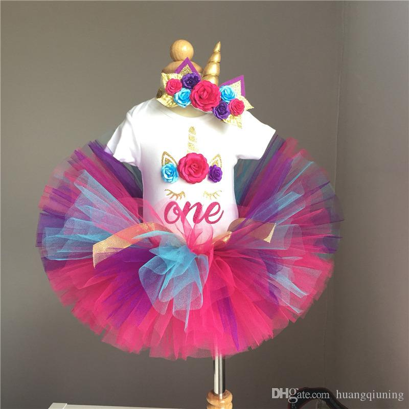 8f40772d7185f Fancy Unicorn Party 1 Year Girl Baby Birthday Dress Infant Christening Gown  Flower Kids Clothes Colorful Tutu Dresses Princess Girl Outfits