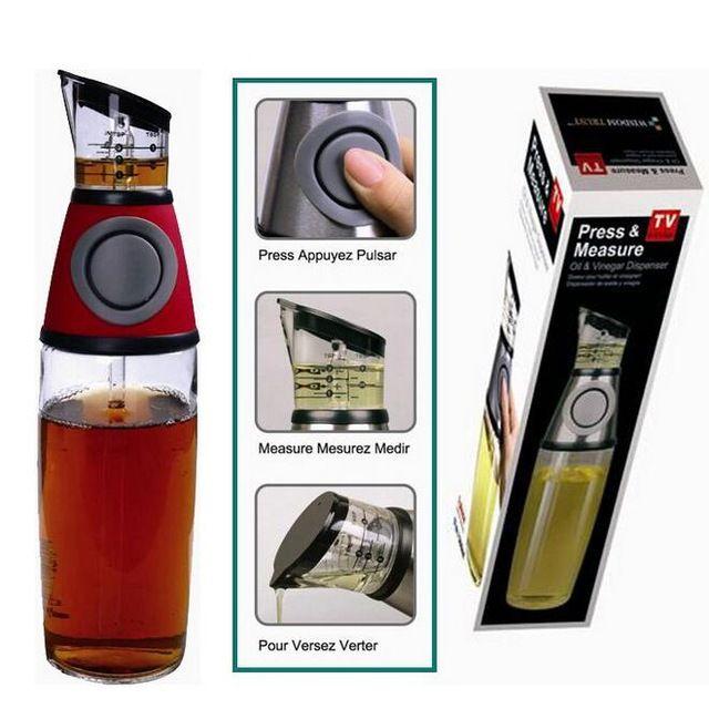 Practical Metering Bottle Pressing Type Measuring Oil Vinegar Dispenser Press Measurable Condiment Glass Bottle Cooking Tools