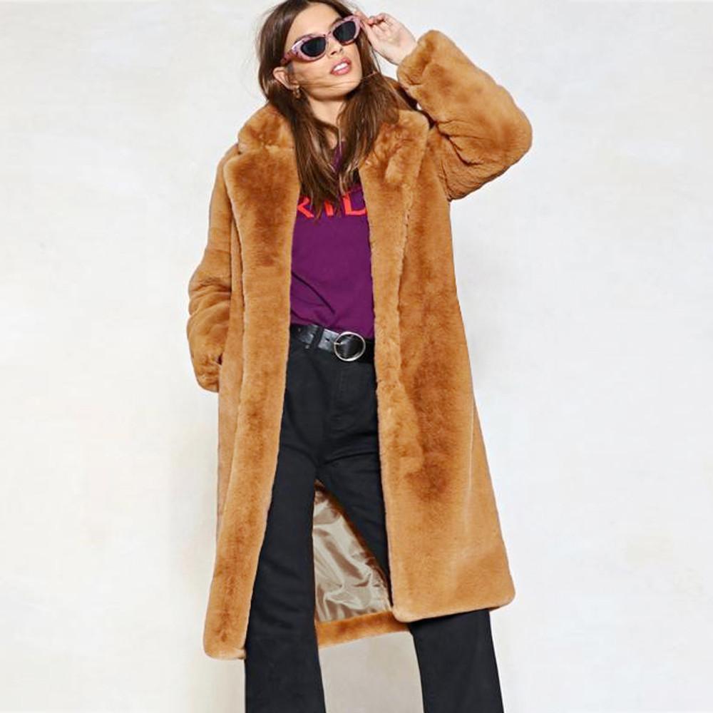 100% authentic 97a52 04957 Giacca da donna in pelliccia sintetica calda da inverno Parka con risvolto  solido Rivestimento esterno giacca con cerniera Tasche cappotto invernale  ...