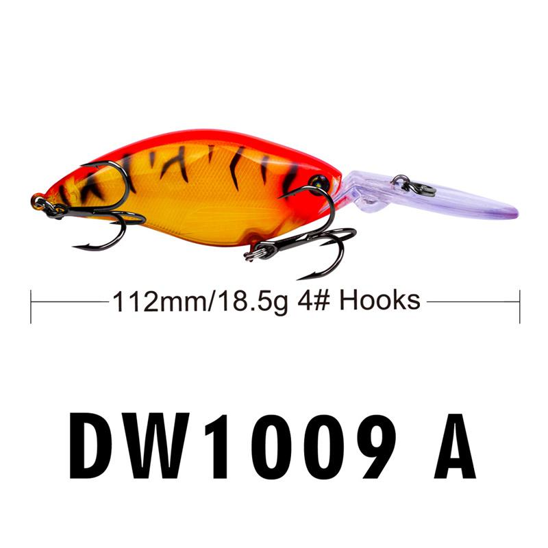 Minnow Laser Long Lip señuelo de los peces 11.2cm 18.5g Pesca de agua dulce BASS Cebo de manivela 4 # BKB Anzuelos CrankBaits