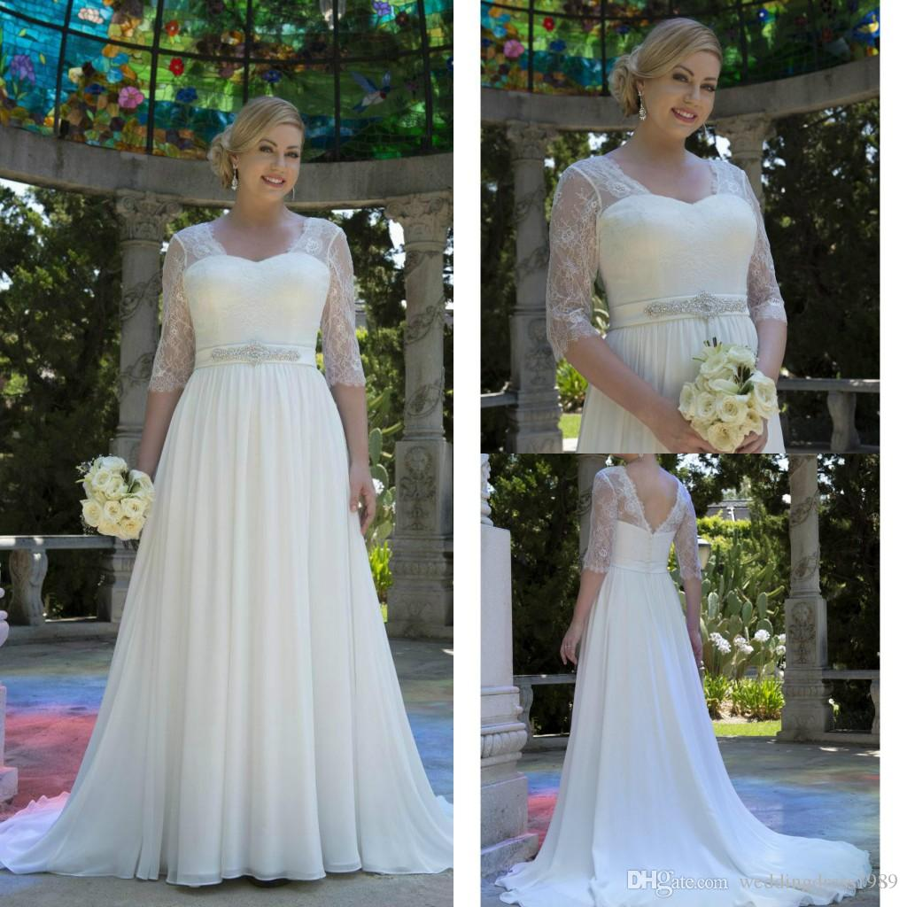 Country Western A Line Cheap Chiffon Bridal Gowns Beaded: Discount Plus Size Country Style Chiffon Lace Wedding