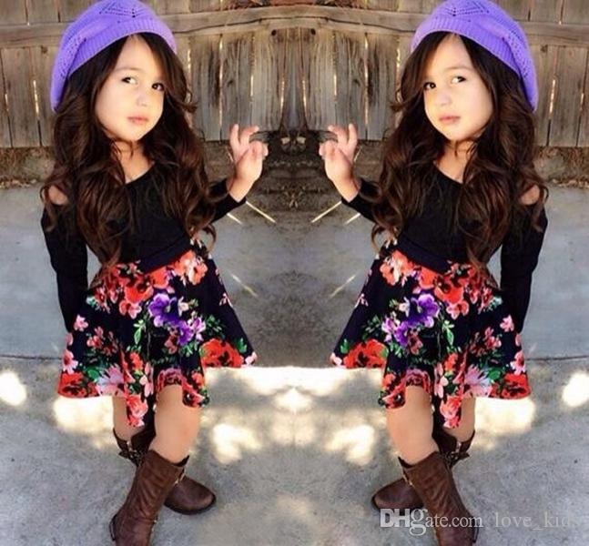 6e7e3f33f16630 2019 2 7Y Girls Clothing Sets Black Long Sleeve Shoulder Off Top+Floral  Skirt Baby Clothes Dress From Love kids