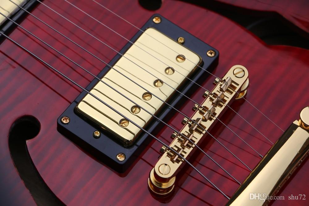 Chegada nova loja personalizada E-dois buracos dupla guitarra elétrica, vinho tinto guitarra Jazz, qualidade Superior, frete grátis
