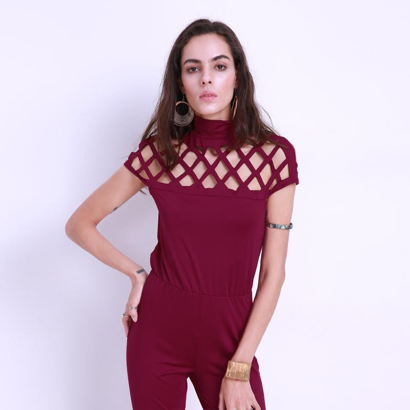 2018 Women Choker High Neck Short Caged Sleeve Playsuits Long Rompers Sexy Hollow Out Plain Women Summer Jumpsuits Plus Size 3XL