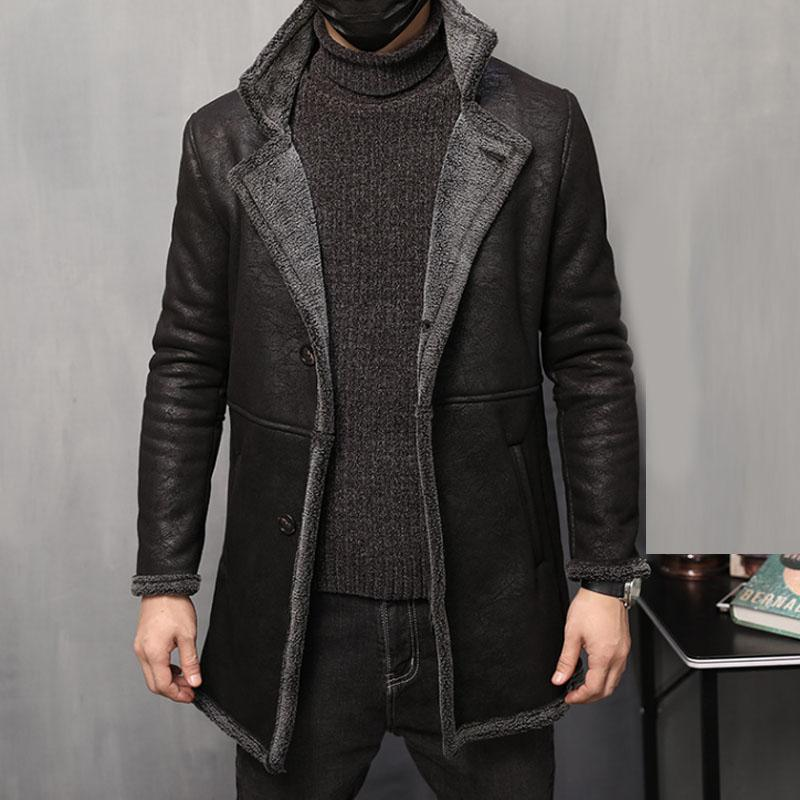 6ca52db97ecf6b 2019 2018 New Winter Thick Fleece Warm Leather Jacket Men Single Breasted  Style Vintage Design Long Jackets Coats 4XL 5XL From Xinpiao, $217.73 |  DHgate.Com