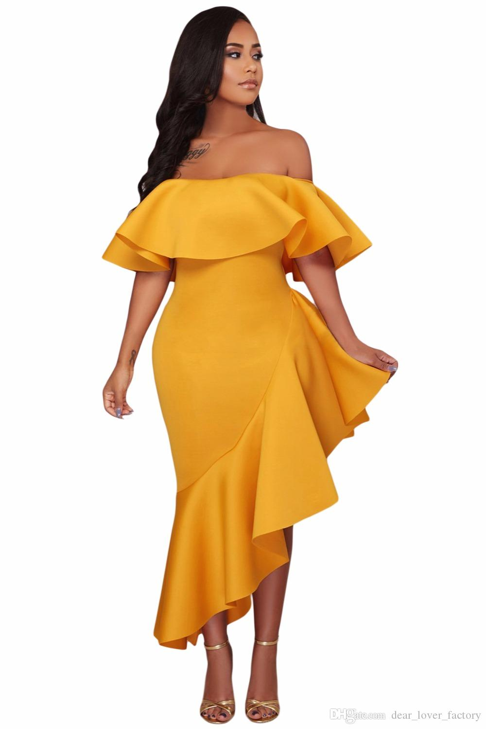 537502a2b1fd 2018 Off Shoulder Party Evening Dress Sexy Ladies Yellow Short Sleeve  Asymmetric Elegant Ruffle Dress Vestidos Verano Dresses Pink Cocktail Dresses  Dress ...