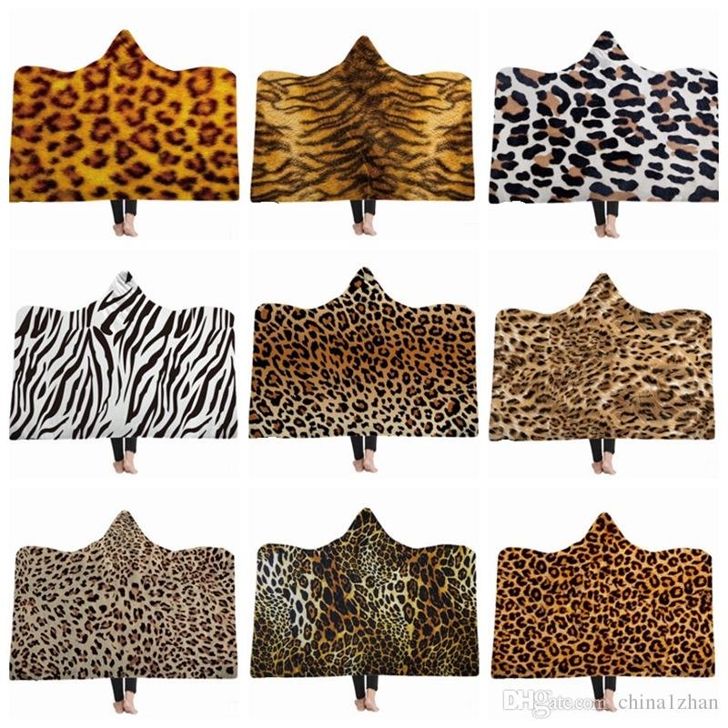 Leopard Hooded Blanket Tiger Pattern Fleece Blankets Kids Throw Blanket Winter Sofa Bedding Supplies Christmas Gift 12 Designs 30pcs YW1719