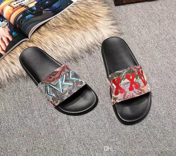 Sandals Slippers For Men and Women Fashion Style With Box 2018 Hot Designer flower printed unisex beach flip flops genuine leather slipper