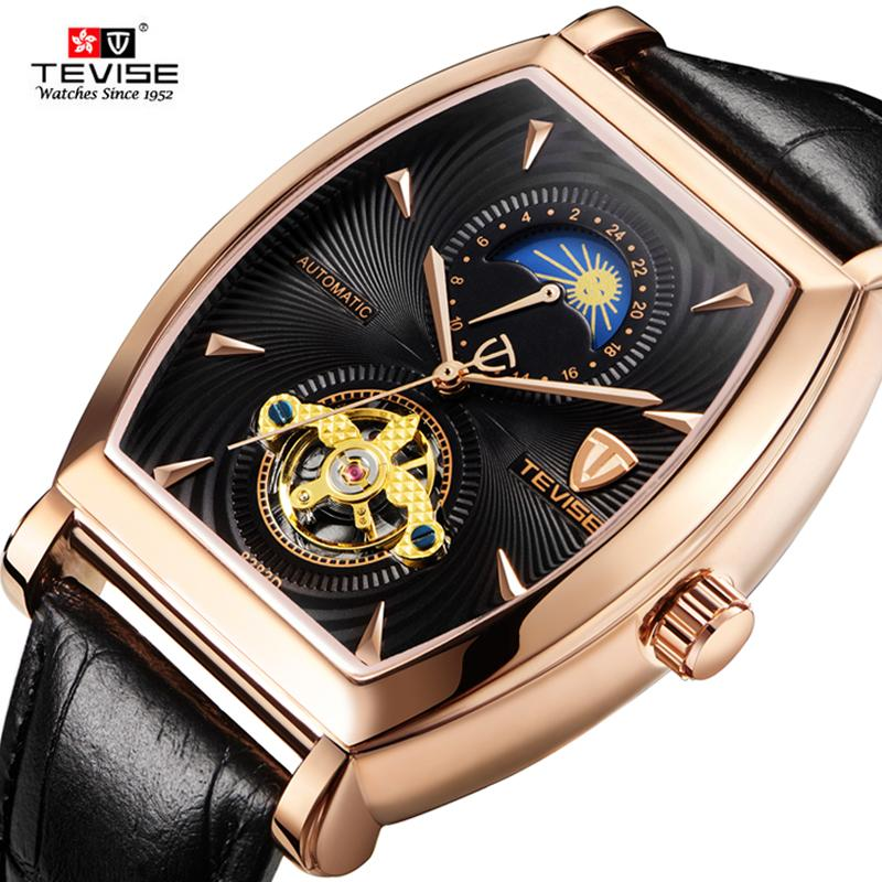 fae849a1e86 TEVISE Brand Men Mechanical Watch Top Fashion Luxury Moon Phase ...