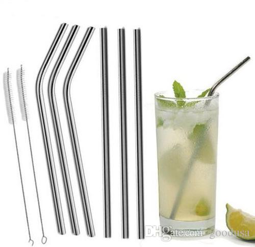30 20 oz Stainless Steel Straw Durable Reusable Metal 10.5 and 8.5 inch Extra Long Drinking Straws For 30oz 20oz Cups Mugs