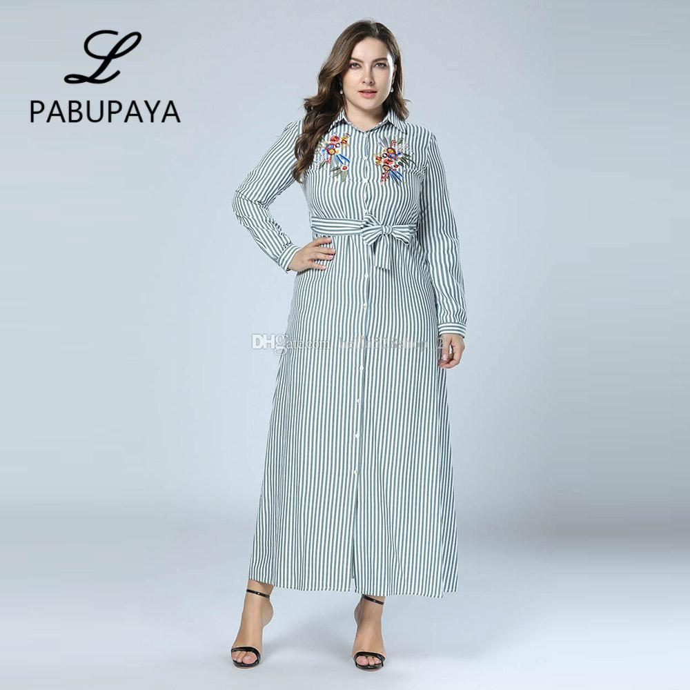 bd1d2583ab5 Boho Style Long Sleeve Maxi Dress Women Shirt Dresses Floral Print Vintage  Muslim Robe Kaftan Robes Striped Button Down Gown White Prom Dress Girl  Dress ...