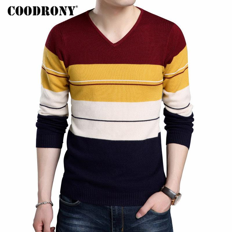 ff5fde3768b COODRONY Sweater Men Casual Striped V-Neck Pull Homme Knitted Cotton  Pullover Men Autumn Winter Thick Warm Slim Fit Sweaters 164