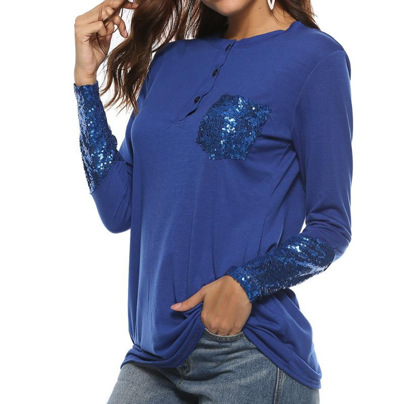 Sequined Button Long Sleeve Autumn Women T Shirts O Neck Sequin Female  Casual Patchwork Pocket Basic Top T Shirt Plus Size GV213 Tee T Shirts Tees  T Shirt ... ac323b862700