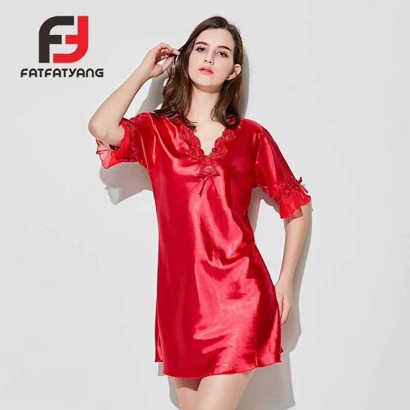 735b4f1450 2019 Ladies Sexy Silk Solid Satin Night Dress Short Sleeve V Neck Nightgown  Plus Size Lace Flounce Sleepwear Nightwear For Women New From Sweatcloth
