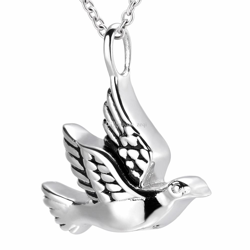 Stainless Steel Pigeon Bird Shape Ash Urn Pendant Memorial Cremation Jewelry