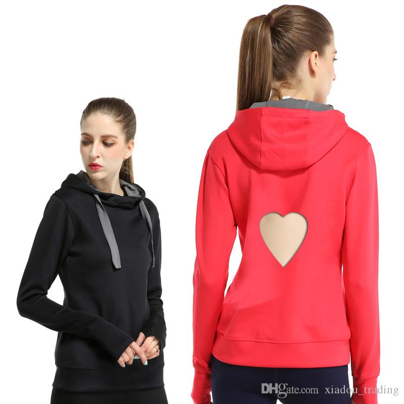 0a74b60b 2019 2018 Women Fashion Sweatshirt New Sports Long Sleeve Hooded Heart  Shaped Hollow Out T Shirt Top Female Loose Casual Sports Yoga Clothing From  ...