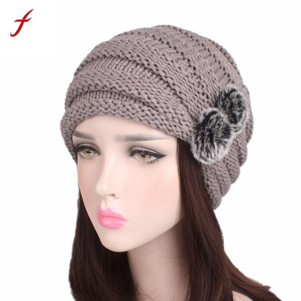 Women Winter Caps Knitted Wool Cotton Hat 2017 Ladies Autumn Knitting  Turban Hat Cap Thick Female Bonnet Beanie Boo Trucker Hats From Pickled abb3374441f
