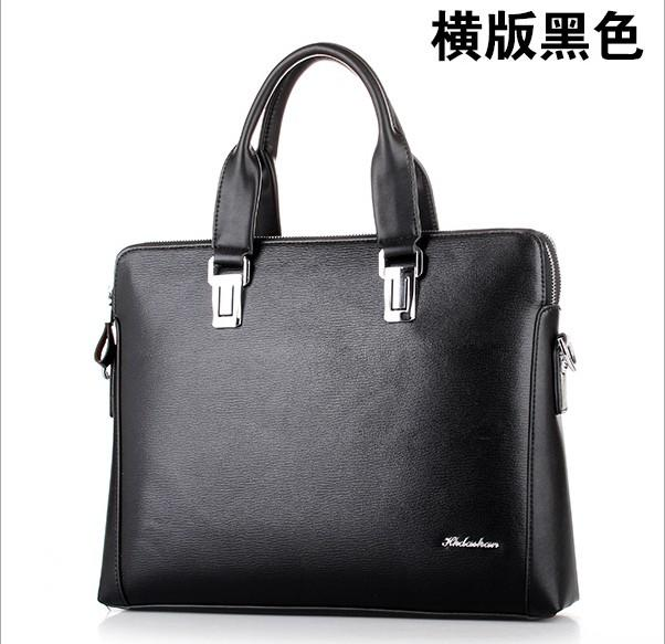 HK dashan  business man briefcase pu leather men's briefcases male fashion laptop black handbags big size 15inch black