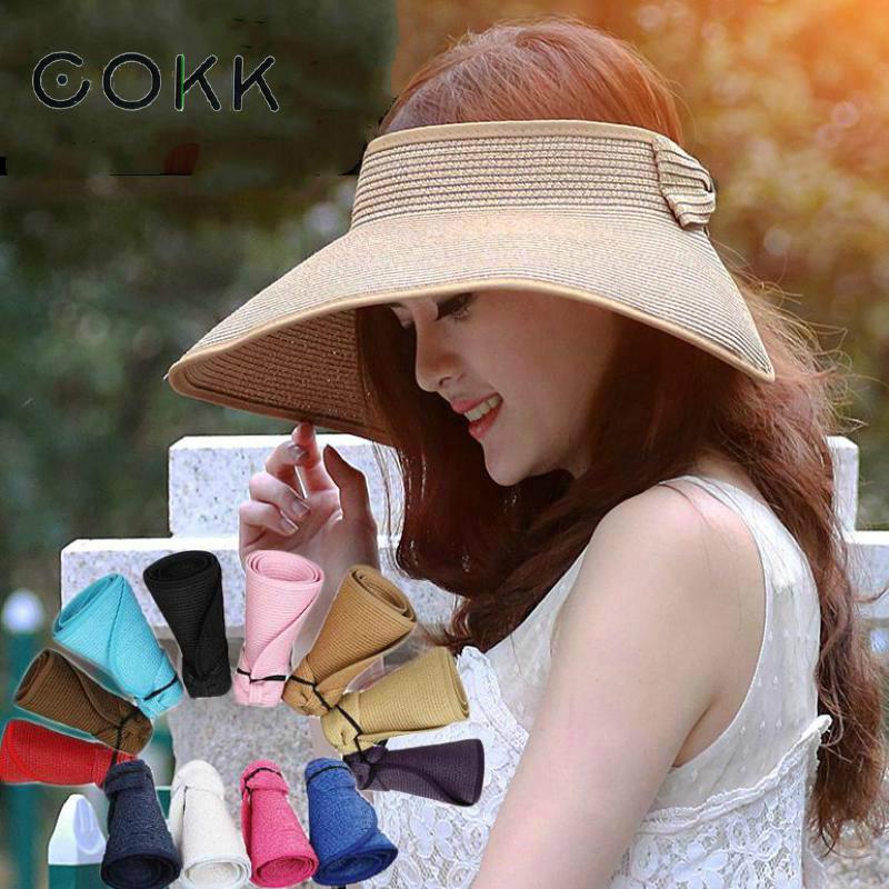 Compre Cokk Marca 2017 Nueva Primavera Verano Visores Cap Plegable Gran Ala  Ancha Sombrero De Sol Sombreros De Playa Para Mujeres Sombrero De Paja Al  Por ... 300fceb7ca08