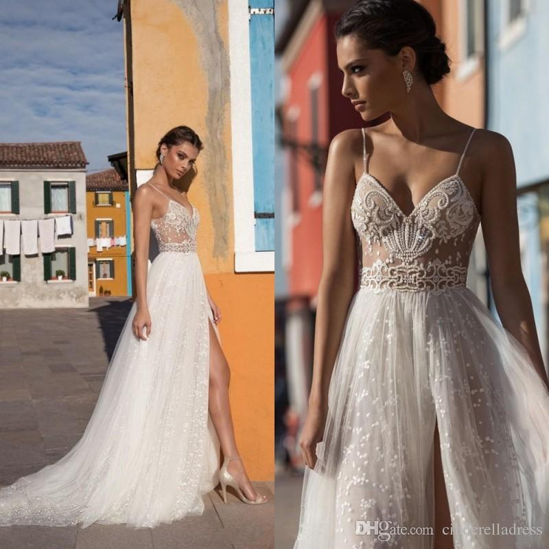 Discount 2019 Gali Karten Beach Wedding Dresses Side Split Spaghetti  Illusion Sexy Boho Wedding Gowns Sweep Train Pearls Backless Bohemian Bride  Second Hand ... b3c8e379404c