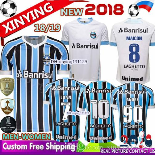 5f06b54291 Best Quality New 2018 2019 Men Woman Gremio Home Soccer Jersey 18 19 ...