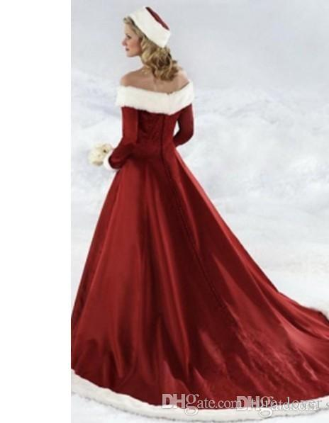 Winter Wedding Dresses Vintage Off Shoulder Embroideries Long Sleeves Red Bridal Gowns Court Train Fall Winter Christmas Wedding Dress